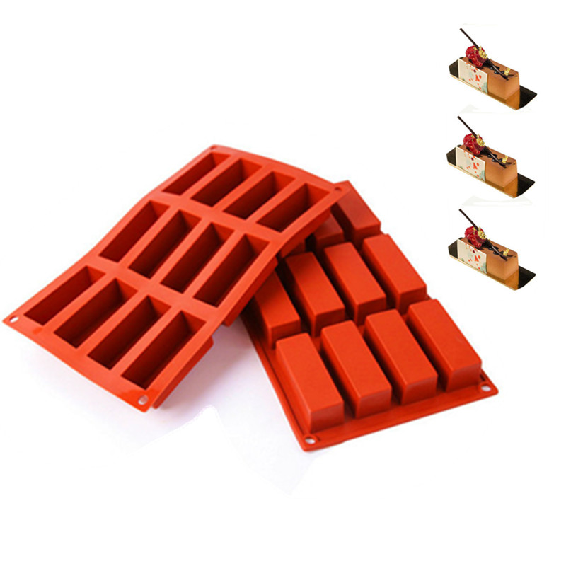12holes Rectangle Shapes Silicone Mold fondant Chocolate Mold Soap Mould Biscuit Cookie Baking Pan Kitchen Bakeware Accessories