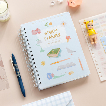 2020 Planner Coil NoteBook A5 Kawaii Palnner Book Bullet Journal Diary Annual Month Week Plan Cartoon Flower Journal Notebook