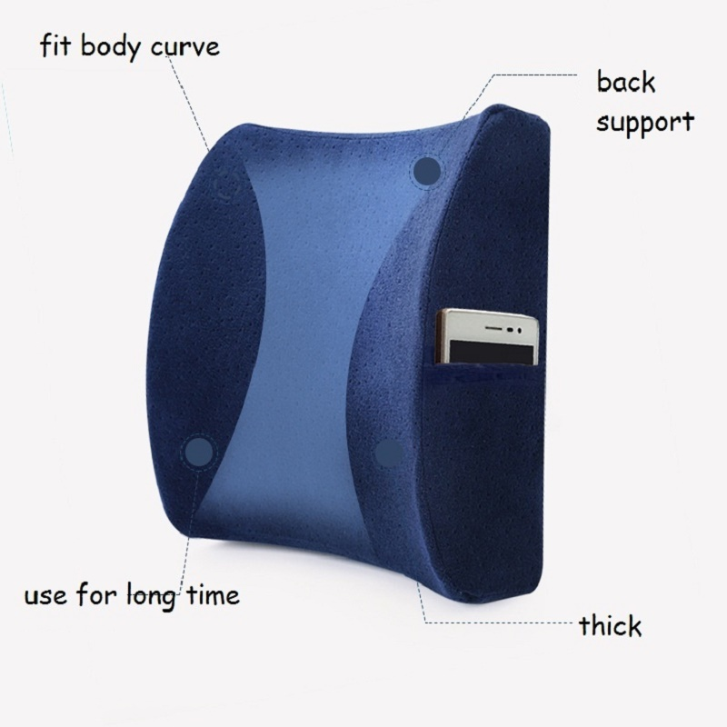 Lumbar Support Velvet Fabric Rebound Memory Foam Lower Back Pillow Curved Design for Ergonomics Reduce Waist Pressure Back Pain in Cushion from Home Garden