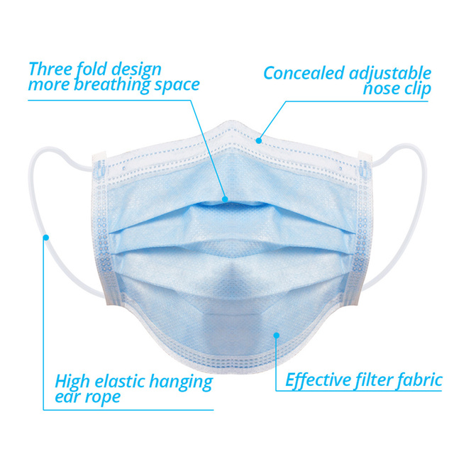 20/50/100 Pcs Face Disposable Masks 3 Layers Dustproof Mask Facial Protective Cover Masks Anti-Dust Bacteria Proof Flu Face Mask 3