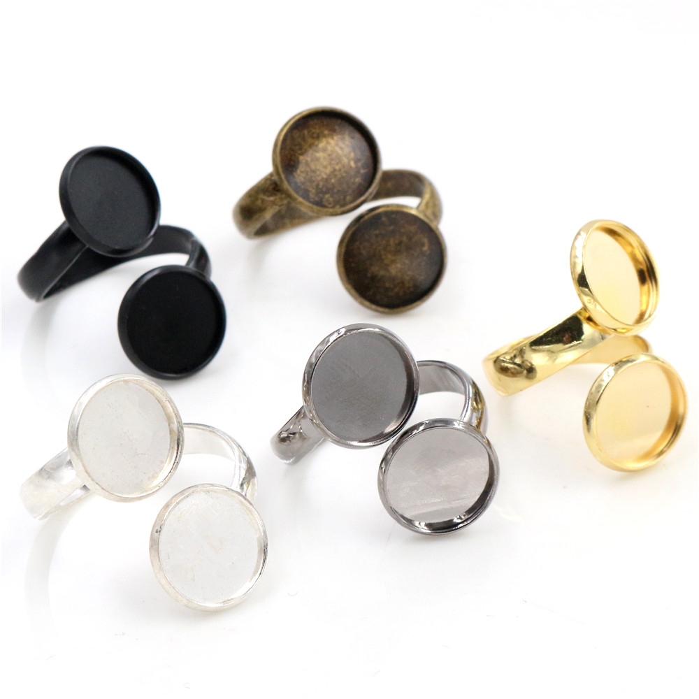 12mm 10mm 5pcs/Lot High Quality Classic 5 Colors Plated Brass Adjustable Ring Settings Blank/Base,Fit 10/12mm Cabochons,Buttons