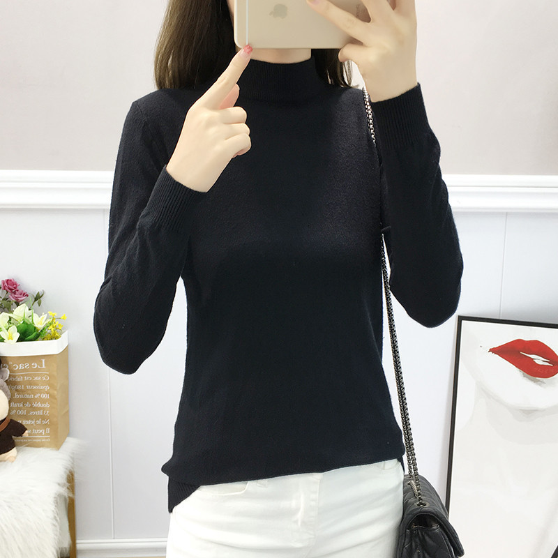 Casual All Match Turtleneck Slim Solid Fashion Warm Knitted Sweater Pullover Autumn Knitwear Sueter Mujer Long Sleeve Women New