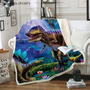Dinosaur Jurassic 3D Printed Fleece Blanket for Beds Thick Quilt Fashion Bedspread Sherpa Throw Blanket Adults Kids 05(China)