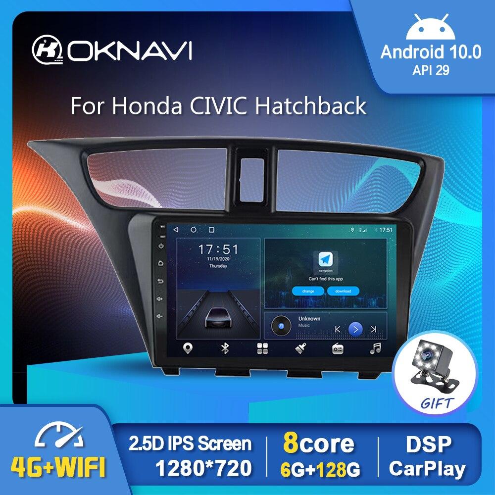 Автомагнитола на Android 10,0, мультимедийный плеер с GPS, Wi-Fi, Carplay, стерео для Honda CIVIC Hatchback 2012-2017, автомобильный видеовыход, OBD, без DVD
