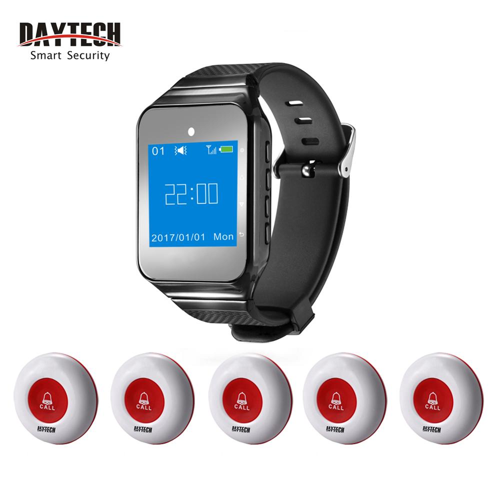 DAYTECH Wireless Calling System 1 Pc 433 MHZ Watch Pager 5 Pcs Waterproof Call Button Restaurant Waiter Call Pager