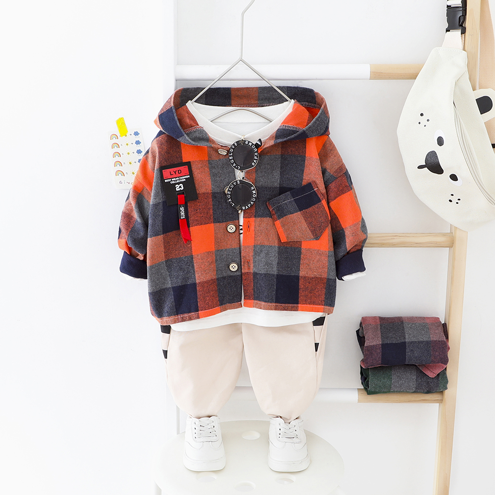 Toddler Boy Clothes Set Big Plaid Hooded Shirt + Elastic Pants Baby Boys Clothing Spring Autumn Children Outwear Normal Size