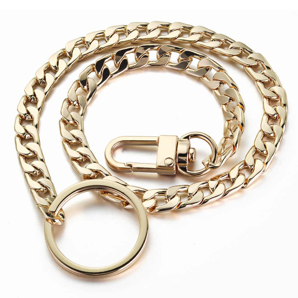 40cm llaveros Metal billetera cinturón cadena pantalones Hipster Hip Hop Rock Punk calle llavero Anti-pérdida llavero hombres K404