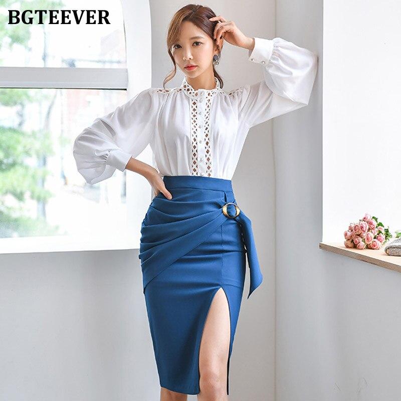 BGTEEVER 2 Pieces Work Suit Patchwork Lantern Sleeve Blouse & Split Pencil Skirt Women Skirt Suit Elegant Office Ladies Set 2019