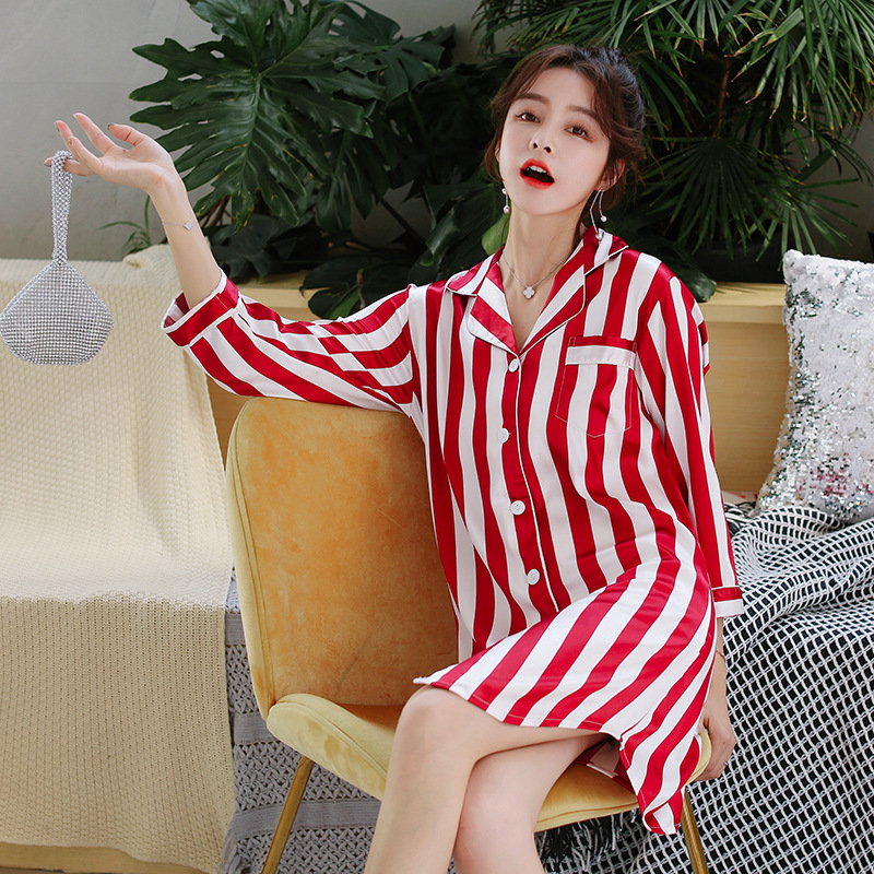 Young Lady Satin   Nightgown     Sleepshirt   For Summer Turn-down Collar Mini Sleepweaar Nightwear Long Sleeve Home Clothes With Button