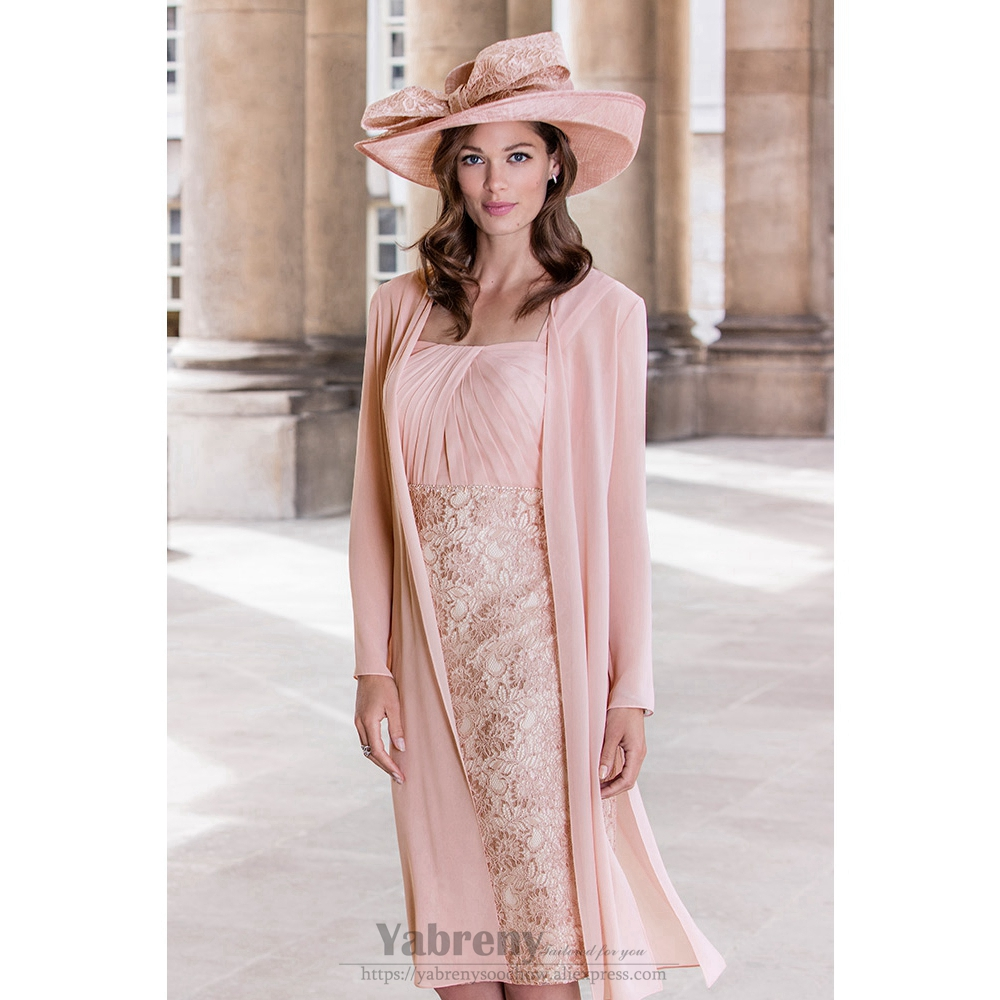 2PC Light Pink Lace Mother Of The Bride Chiffon Dress With Jacket