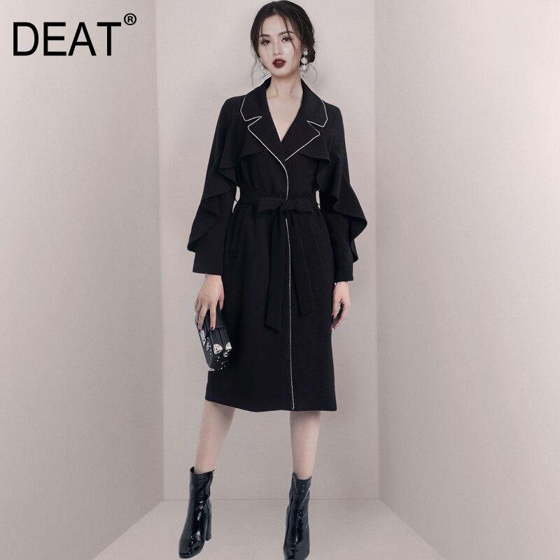 Женский плащ на пуговицах DEAT, черная свободная ветровка с длинным рукавом и отложным воротником, лето 2021, 7E0159,