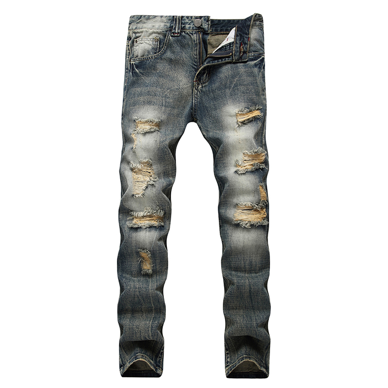Men straight jeans hip-hop men casual denim old pants brand motorcycles jeans rock ripped large size pants for male