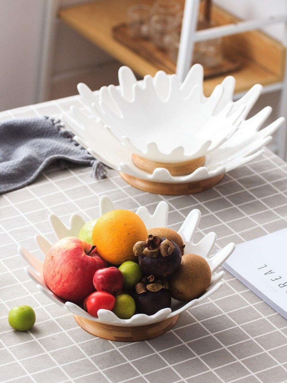 Simple céramique fruits panier maison Table décoration fruits assiette salon stockage panier bambou socle plat plats