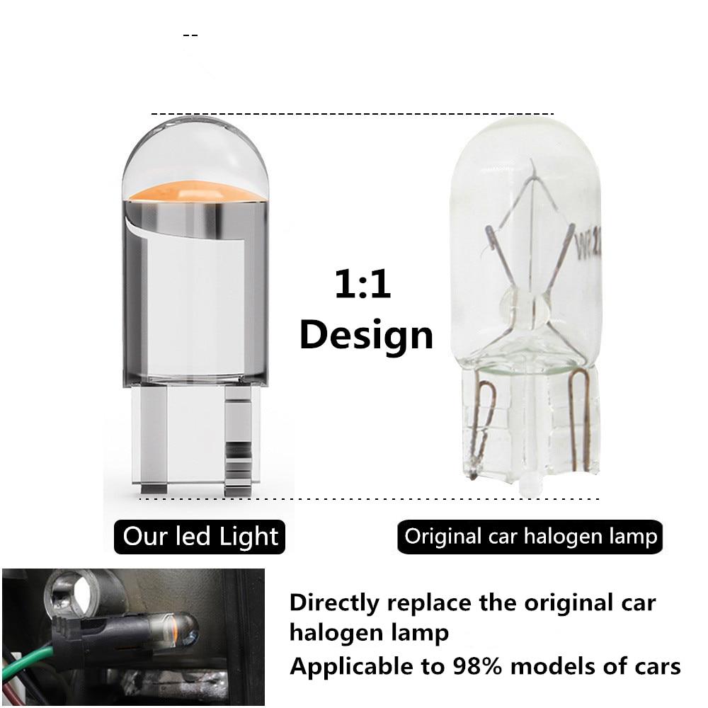 2pcs W5W T10 LED Lamp Car Bulb Epoxy Resin Cob 12V 6000K 7 Colors Wedge License Plate Lamp Dome Indicator Reading Light White 4