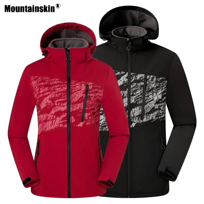 Mountainskin Men Women Hiking Softshell Jacket Fleece Outdoor Sport Windbreaker Camping Trekking Climbing Male Female Coat VA583