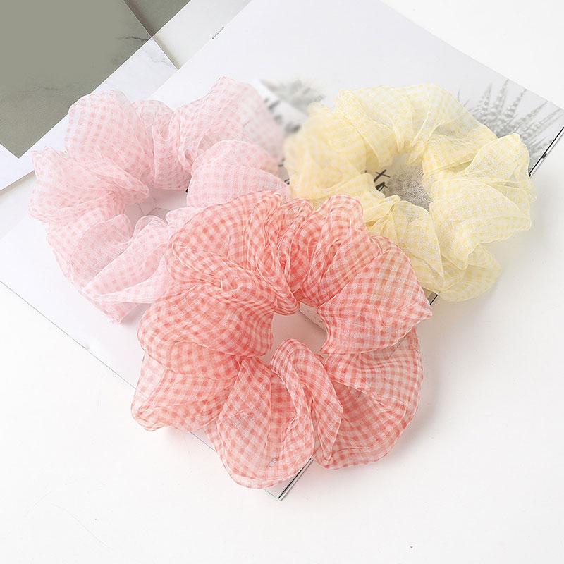 Fashion Organza Soft Elastic Hair Bands Scrunchie Sweet Plaid Hair Ties Fro Girls Women Ponytail Holder Grid Hair Accessories
