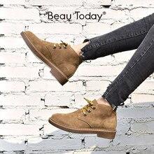 Yarım çizmeler kadın hakiki süet deri Lace Up yüksek üst Derby ayakkabı sonbahar düz topuk bayan ayakkabıları BeauToday 04018