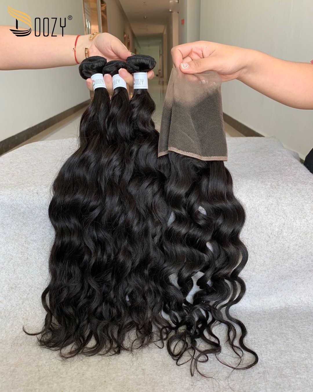 Doozy pelo virgen brasileño recto Color Natural doble trama cabello humano virgen 3 paquetes con cierre de encaje