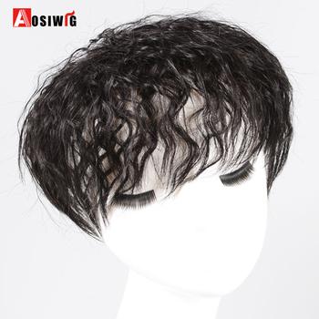 AOSIWIG Top włosy kręcone włosy napowietrzne wymiana włosy Clip in zamknięcie włosy syntetyczne naturalne fałszywe treski dla kobiet tanie i dobre opinie Wysokiej Temperatury Włókna 1 sztuka tylko Clip-in Pure color Blunt bangs