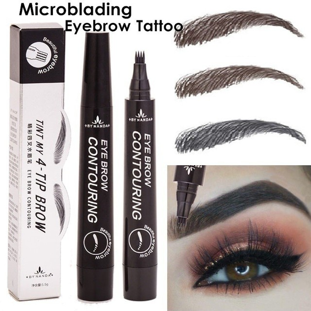 5 Colors 3D Magic Microblading Eyebrow Pencil Makeup Tool Tint 4 Tip Liquid Brow Tattoo Pen Waterproof Cosmetic Eye brow Liner