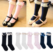New Kids Baby Socks for Girls Children Knee High School Lace
