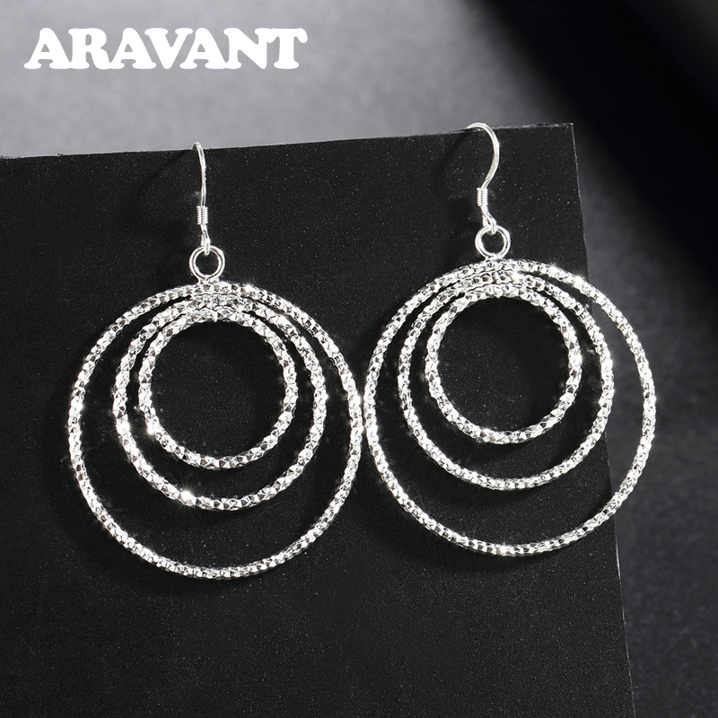 925 Silver Earrings For Women Shiny Three Round Circle Earring Silver Jewelry Gift