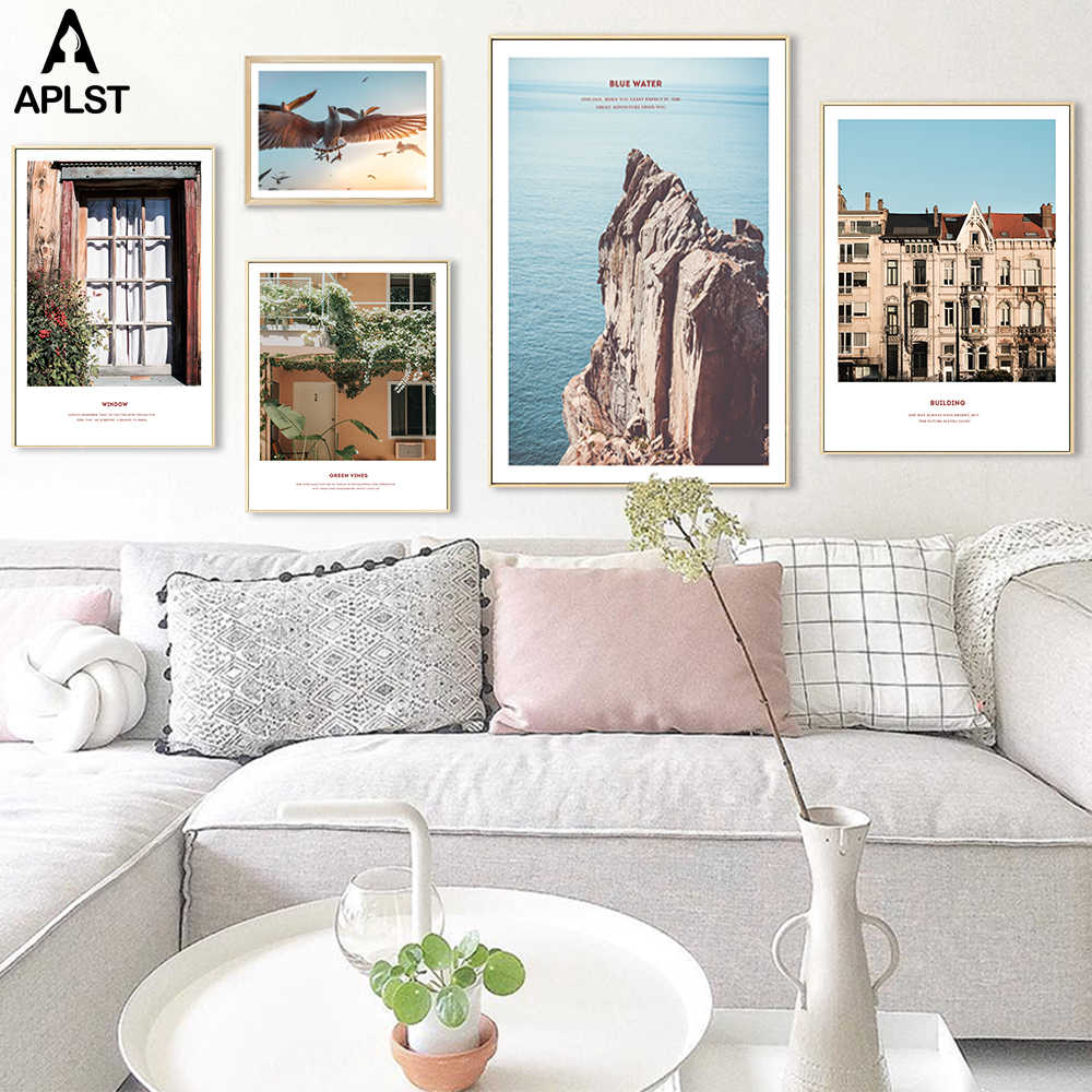Nordic Sea Cliff Prints Picture Nordic Ocean Seagull Modern Wall Canvas Painting Europe Retro House Door Posters for Living Room