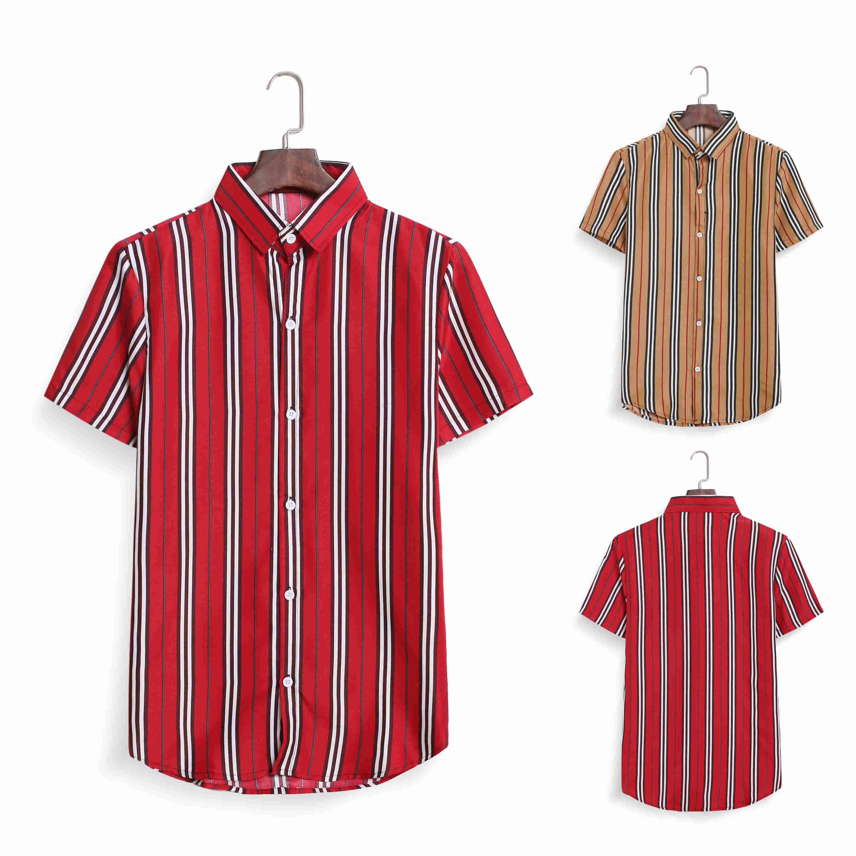 Men's Casual Short Sleeve Shirt Men's Striped Shirt Short Sleeve Multi-color Striped Shirt Striped Short Sleeve Man's Tops