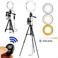 Selfie anel lâmpada led anel de luz selfie para telefone anel fotografia kit tripé câmera de iluminação foto equipamentos para ar preto