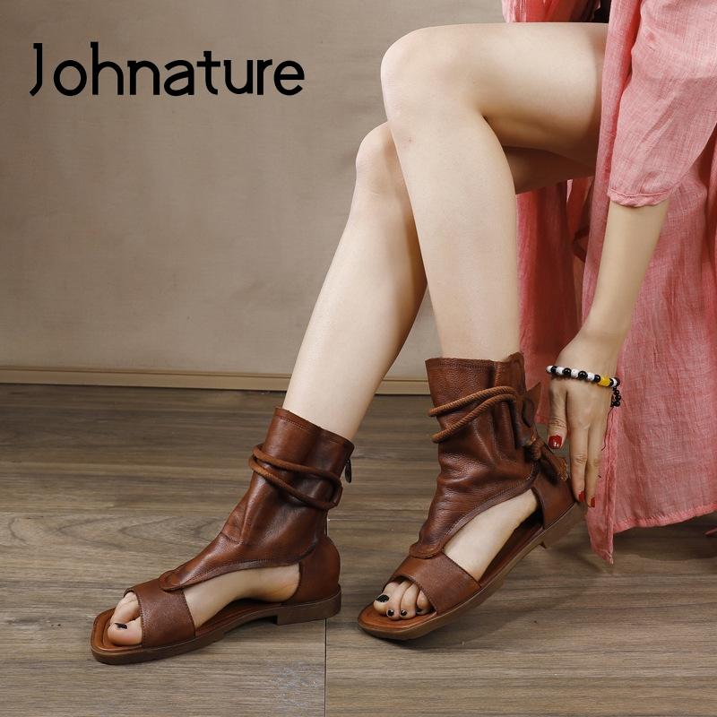 Johnature Ladies Sandals 2020 New Spring Retro Women Shoes Genuine Leather Zip Flat With Sewing Handmade Platform Sandals