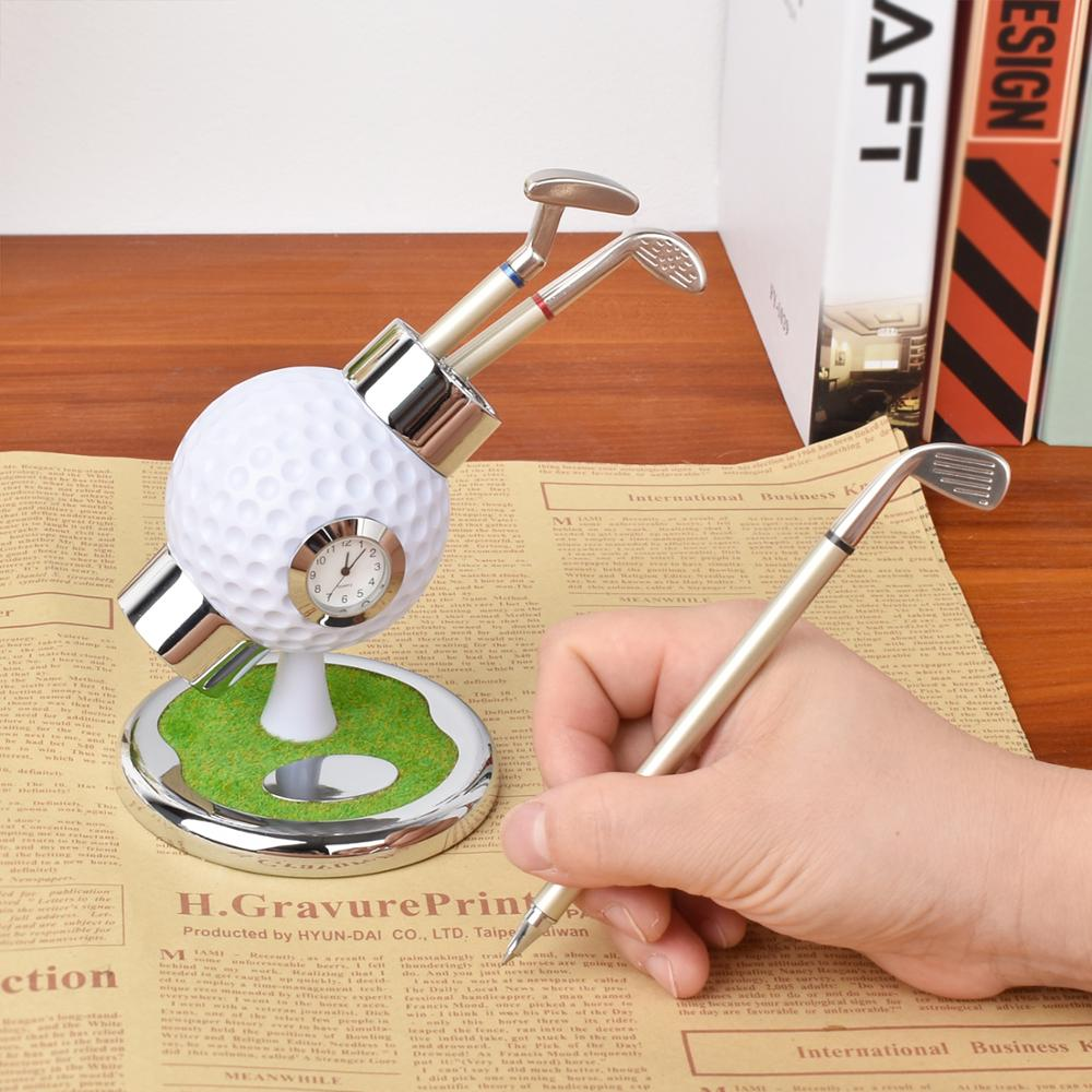 Golf Pen Holder with Clock Office Desktop Decoration Ball Pen Holder Stand with 3 Color Golf Souvenirs Unique Gifts for Golfer|Golf Training Aids| - AliExpress
