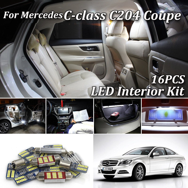 16Pcs Canbus White LED Interior Light Kit For <font><b>Mercedes</b></font> C-Class C204 <font><b>Coupe</b></font> C180 C200 C220 C250 <font><b>C300</b></font> C350 C63 AMG (2011-2015) image