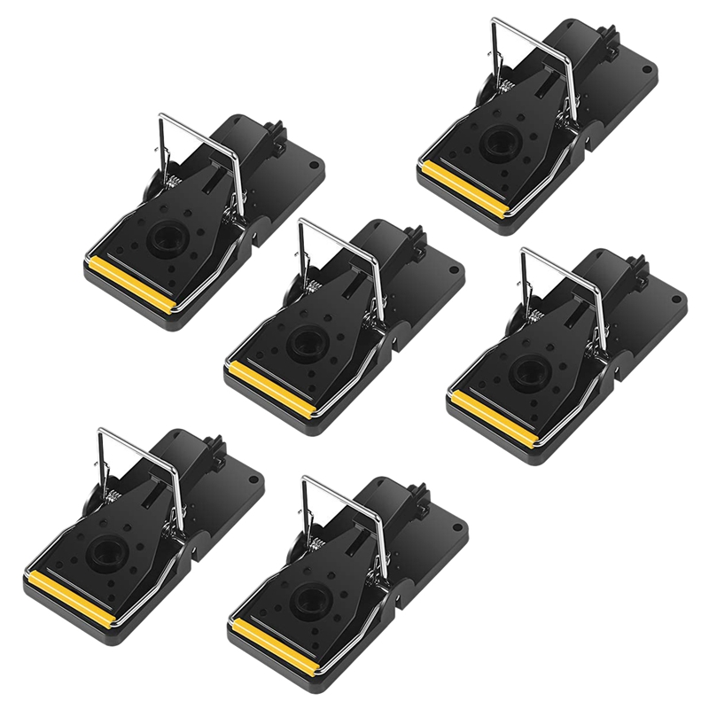 Retail Mouse Trap,Kill Mice Catcher, Easy To Set Reusable Mouse Control Snap Traps (Black-6)