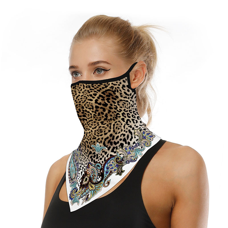 Leopard Outdoor Sport Cycling Bandana Multifunctional Headband Neck Seamless Scarf Mask Sunscreen Windproof Breathable Shield