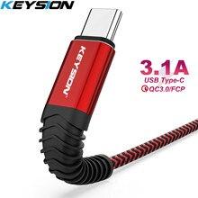 KEYSION 3.1A câble de chargement rapide USB type-c câble de chargeur câble de synchronisation de données fil de USB C pour Samsung S10 S8 Note 9Huawei Xiaomi LG