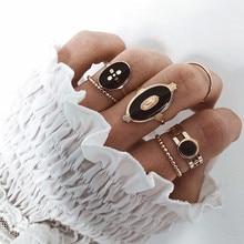 DIEZI 6 unids/set Bohemian Vintage de moda de metal negro cadena nudillos anillos para articulaciones Set para mujeres Boho Beach oro anillos de dedo joyería