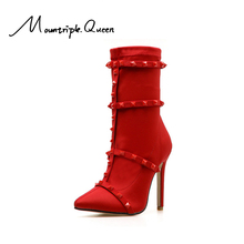 shoes woman new fashion autumn and winter women boots punk sexy Sharp belts High thin heels red black ankle
