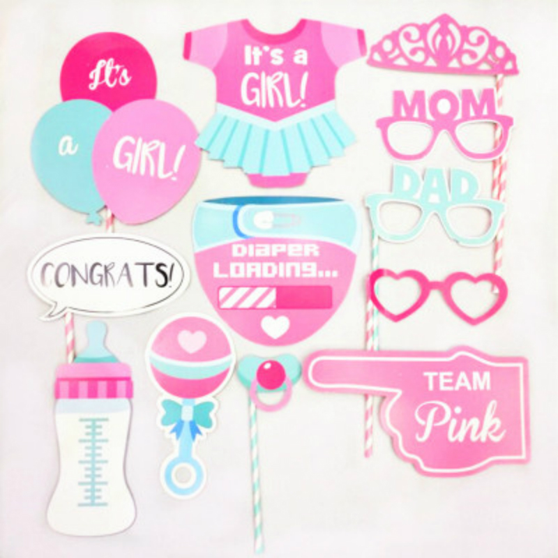 Baby 30 Pcs/set Birthday Party Decorations Supplies Boys&Girls Gender Reveal Newborn DIY 1 Year Old Disposable Photo Props Gifts