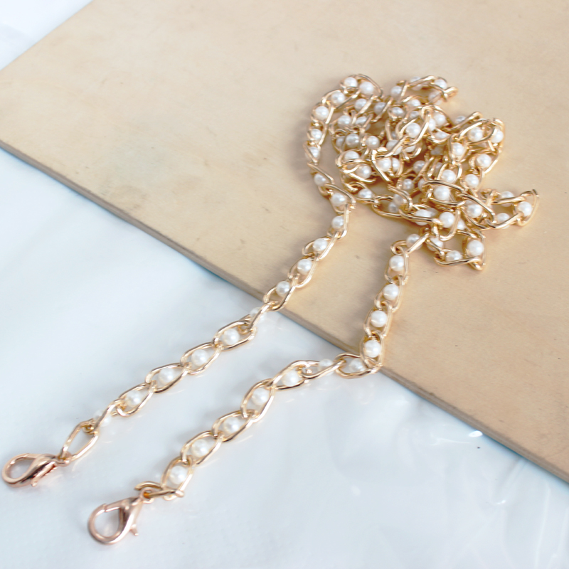 NEW Brand Pearl Strap For Bags Handbag Accessories Purse Belt Handles Cute Bead Chain Tote Women Parts  /gold