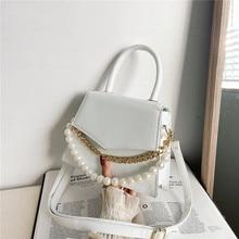 Bag Square-Bag Pearl Single-Shoulder-Bag Cross-Carry Small Korean Fashion Women's Net
