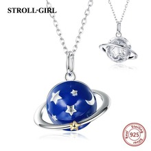 Silver 925 Beautiful meteor across the planet chain pendant&necklace with blue enamel diy European fashion jewelry making gift
