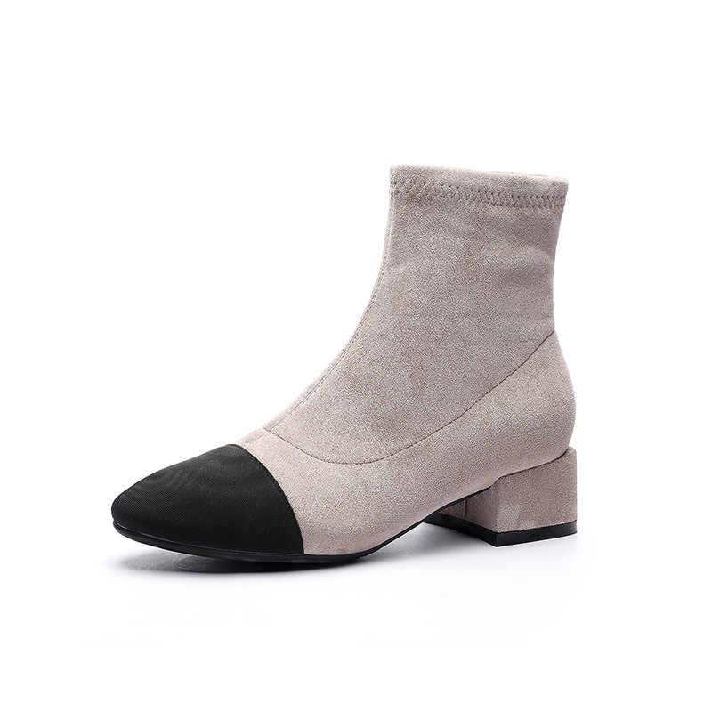 2019 ฤดูหนาวรองเท้าผู้หญิง Plush Square MED รองเท้าส้นสูง Faux Suede หนัง FLOCK รองเท้าข้อเท้าหิมะรองเท้ารองเท้าผู้หญิงใหม่