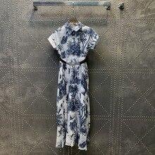 2021 new women fashion short-sleeved lapel tie pleated waist dress 0324