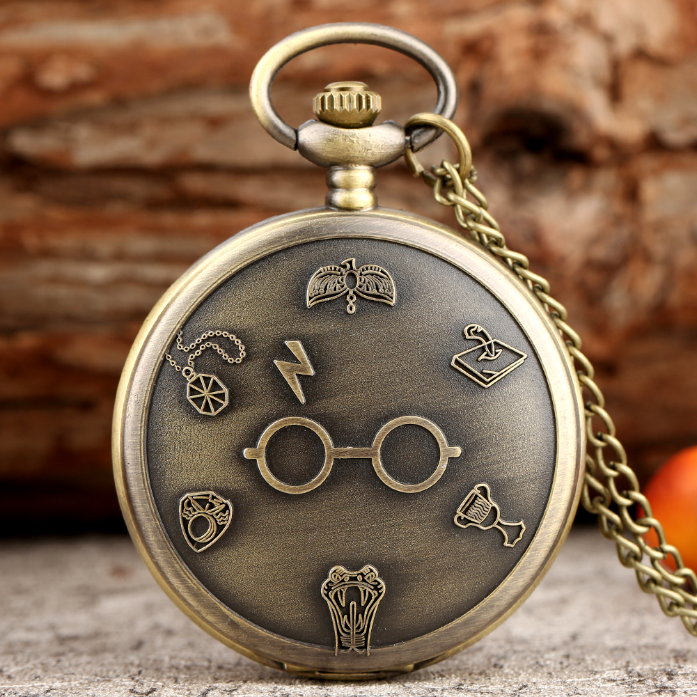 Classic Moive Magic Glasses Theme Pocket Watches Lightning Pattern Pendant Clock Hours Gifts For Men Women Reloj Hombre