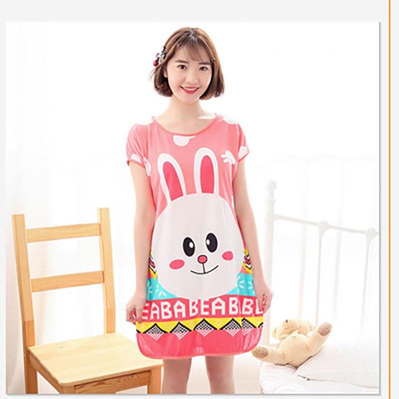 Sanderala Women Print Cartoon Sexy Sleepwear Round Neck Lingerie Cute Nightdress Strap Thin Female Underwear Nighty Home Wear 19