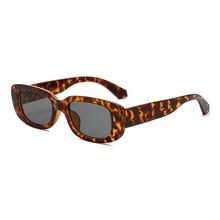 DCM Small Rectangle Sunglasses Women Vintage Designer Leopar