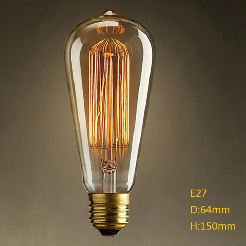 40W E27 220-240V Edison Light Bulb, Retro Yellow Light W-filament Bulb Coffee House Decor Industrial Style Lamp