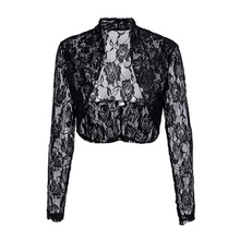 2019 Plus Size Women Casual Long Sleeve Cardigan Jacket Fashion Floral Lace Blouse Coat Solid Color Short 5XL