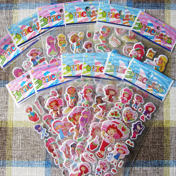 6pcs 17cm 3kinds Cartoon Anime Strawberrt Shortcake Bubble Sticker For Kids PVC Education Collection Strawberry Rush Toy D11
