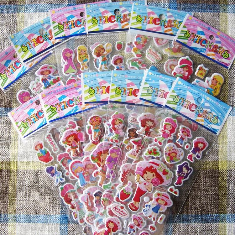 6pcs 17cm 3kinds Cartoon Anime Strawberrt Shortcake Bubble Sticker For Kids PVC Education Collection Strawberry Rush Toy D11